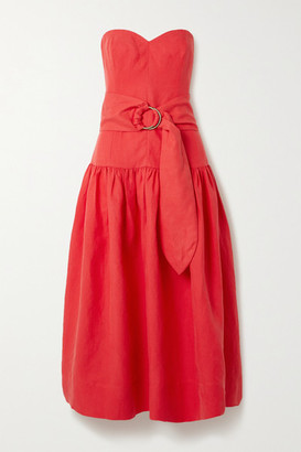 Mara Hoffman Net Sustain Augustina Strapless Belted Tencel And Linen-blend Midi Dress - Red