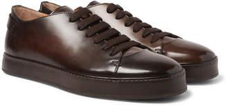 Santoni Burnished-Leather Sneakers