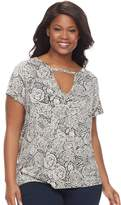 Rock & Republic Plus Size Printed Cut-Out Tee