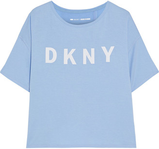 DKNY Cropped Logo-print Stretch-modal Jersey T-shirt