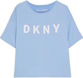 DKNY Split-back Printed Stretch-modal Jersey T-shirt