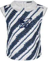 Miss Blumarine Navy Striped Broderie Anglaise Top