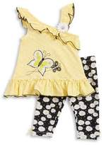 Nannette Baby Girl's Two Piece Bumblebee & Daisy Top and Pant Set