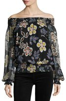 Tory Burch Indie Floral-Print Off-the-Shoulder Silk Blouse, Black