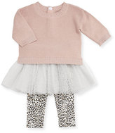 Miniclasix Metallic Knit Sweater w/ Leopard Tutu Leggings, Size 2-4