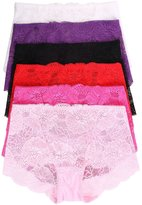 Simplicity Laides Sexy 6 Pack Lace Boyshorts Panties, Multi