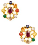 Amrapali 18K Yellow Gold & Navratna Stone Stud Earrings