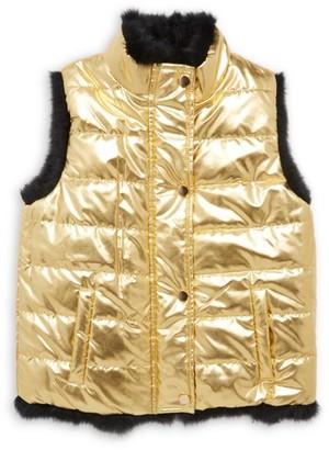 Adrienne Landau Little Girl's & Girl's Rabbit Fur-Lined Metallic Puffer Vest