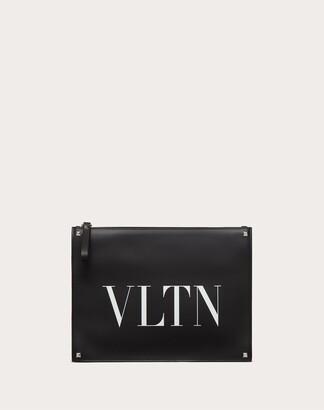 Valentino Garavani Uomo Leather Vltn Clutch Man Black/white 100% Pelle Bovina - Bos Taurus OneSize