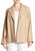 Lafayette 148 New York, Plus Size Floral Herringbone Linen Jacket