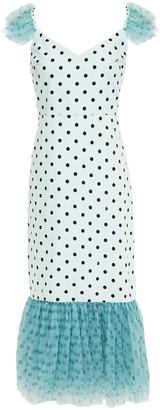 STAUD Ruffled Polka-dot Tulle And Cotton-blend Poplin Midi Dress