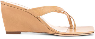 BY FAR Theresa Leather Wedge in Nude | FWRD