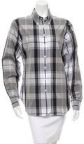 Black Fleece Plaid Button-Up Top