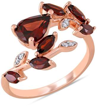 Laura Ashley Rose Goldplated Sterling Silver, Garnet Diamonds Leaf Bypass Ring