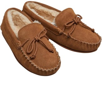 Onfire Womens Suede Moccasin Slippers Chestnut
