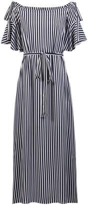 HUGO BOSS navy and white stripey dress - 4   viscose   blue   Stripes - Blue/Blue