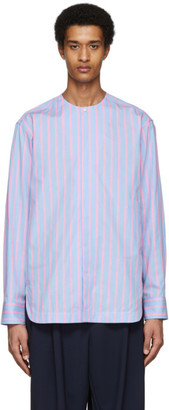 House of the Very Islands Blue and Pink Striped Poplin Shirt