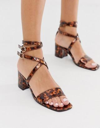London Rebel block heel strappy sandals in tortoise-Pink