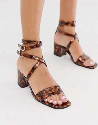 London Rebel block heel strappy sandals in tortoise