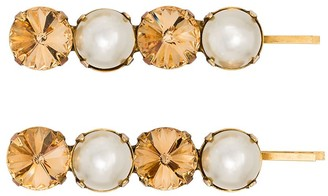 Jennifer Behr crystal and faux pearl Gallina set of two hairclips