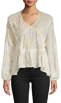 Central Park West Tiered Embroidered Top