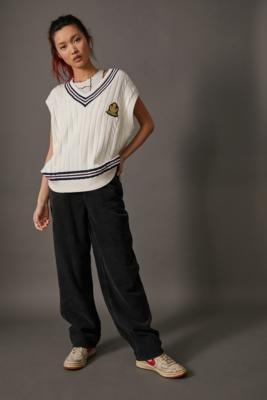 BDG Corduroy High Waist Boyfriend Jeans - Black 27 at Urban Outfitters