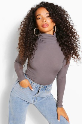 boohoo Petite Rib Long Sleeved Turtle Neck Top