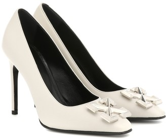 Off-White Embellished leather pumps
