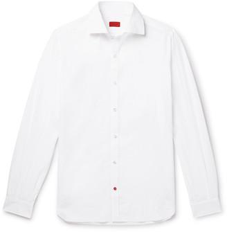 Isaia Slim-Fit Cutaway-Collar Cotton-Seersucker Shirt