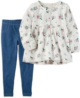 Carter's Toddler Girl Floral Top & Faux-Denim Leggings Set
