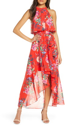 Brinker & Eliza Popover Halter High/Low Chiffon Maxi Dress