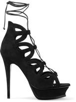 Saint Laurent Tribute 16 Lace-up Suede Platform Sandals - Black