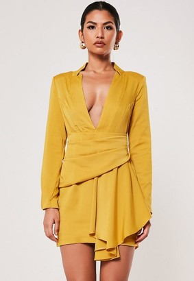 Missguided Mustard Drape Pleated Satin Blazer Dress