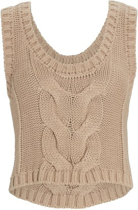 STAUD Kind Cable Knit Sleeveless Sweater