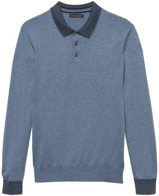 Banana Republic Silk Cotton Cashmere Sweater Polo Shirt