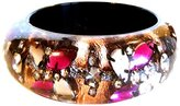 Nicholas King Handmade Resin Bangle with Rose Leaf and Crystal Flower Chain Set Inside the Resin