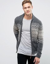 Jack & Jones Vintage Zip Through Chunky Cardigan With Fairisle