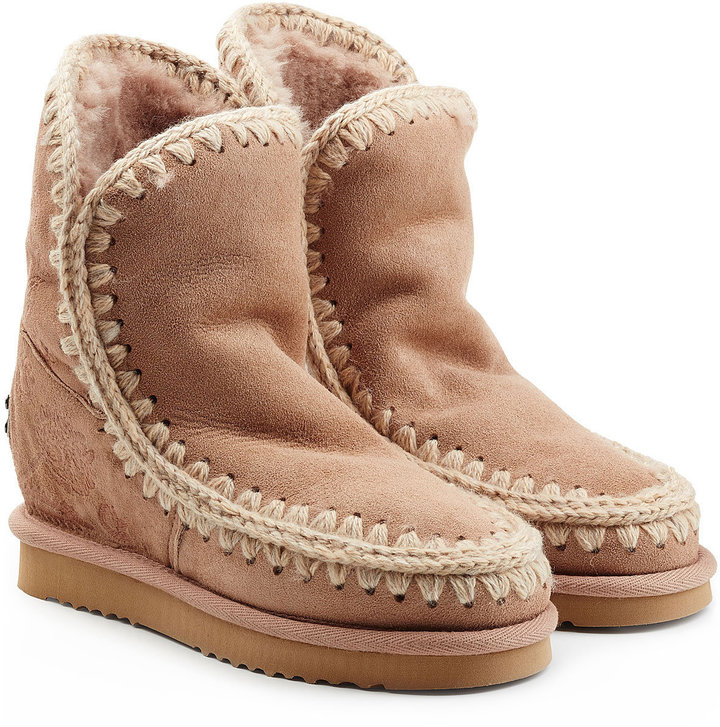 Mou Eskimo Wedge Short Sheepskin Boots with Embroidery