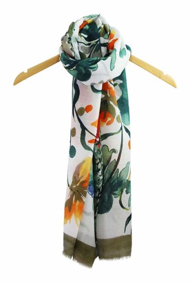 Finecy In NEW Women Flower Floral Paint Print Soft Cotton Scarf Wrap Large Spring Summer UK (Green)