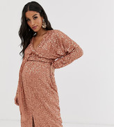 Asos DESIGN Maternity midi dress with batwing sleeve and wrap waist in scatter sequin