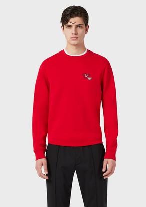 Emporio Armani Double-Jersey Sweatshirt With Emoji Patch