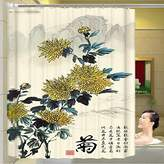 WHYGAO@ Bathroom shower curtain thick waterproof polyester anti-mould plum, Orchid, bamboo and chrysanthemum