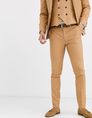 Twisted Tailor Hemmingway super skinny suit pants in camel-Tan