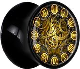 Body Candy Black Acrylic Roman Numeral Gear Clock Saddle Plug Pair 00 Gauge