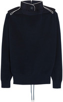 Sacai Lace-up Twill-trimmed Cotton Sweater - Navy