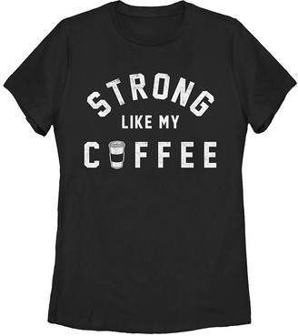 Fifth Sun Women's Tee Shirts BLACK - Black 'Strong Like Coffee' Crewneck Tee - Women, Juniors & Plus