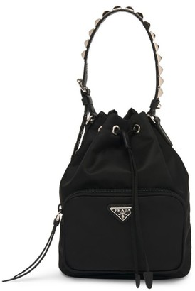 Prada Nylon Bucket Bag with Studding