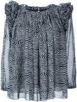 Steffen Schraut dots print ruffled blouse