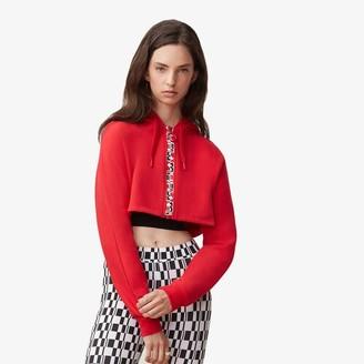 Fila Moto Alexa Cropped Zip-Up Hoodie Sweatshirt - Red / Black