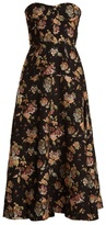Rochas Floral-jacquard strapless dress